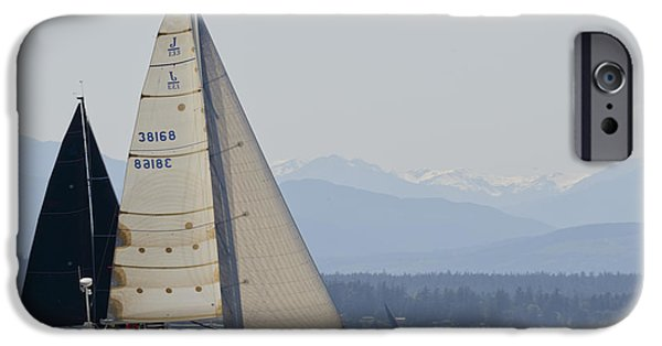Sailboats iPhone Cases - Race to the Strait iPhone Case by Bob VonDrachek