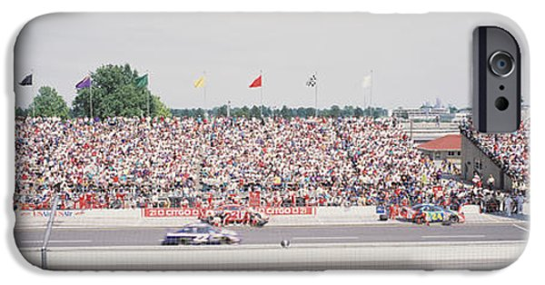 Indy Car Photographs iPhone Cases - Racecars On A Motor Racing Track iPhone Case by Panoramic Images
