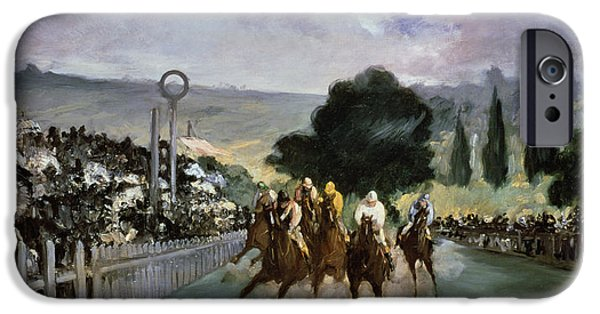 Horse Race iPhone Cases - Races at Longchamp iPhone Case by Edouard Manet