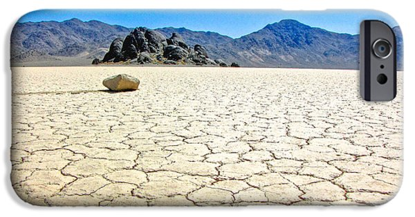 Sailing iPhone Cases - Racetrack Playa Death Valley 3 iPhone Case by Backcountry Explorers