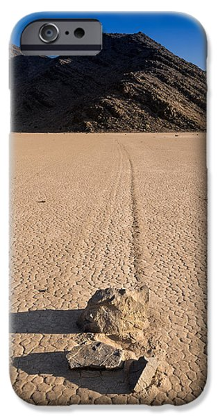 Dry Lake Photographs iPhone Cases - Racetrack Playa Death Valley iPhone Case by Steve Gadomski