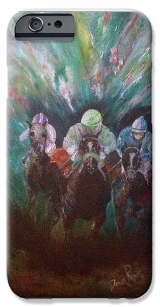 Hockey Paintings iPhone Cases - Racing At The Fairgrounds iPhone Case by Dawn Rogers