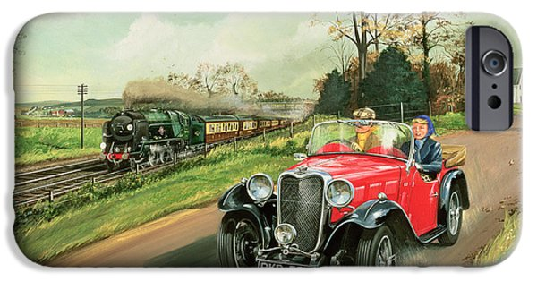 Old Cars iPhone Cases - Racing the Train iPhone Case by Richard Wheatland