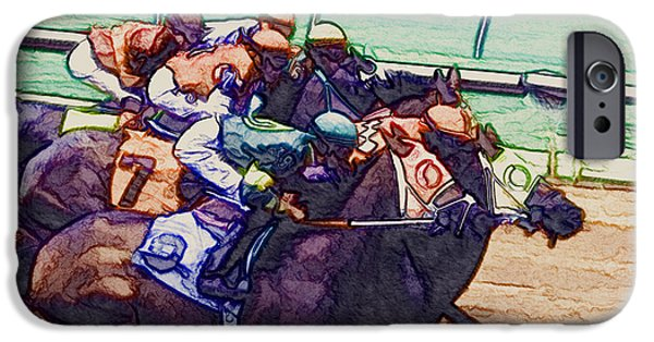 Horse Racing Digital iPhone Cases - Racing To The Finish Line iPhone Case by Arline Wagner