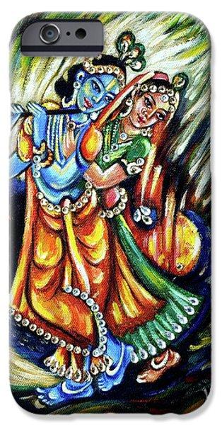 Hindu Goddess iPhone Cases - Radhe Krishna iPhone Case by Harsh Malik