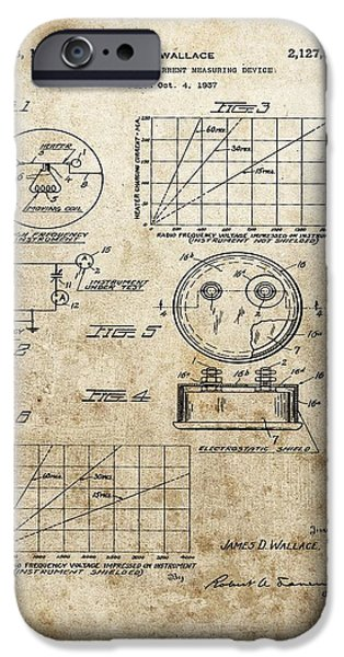Electric Current iPhone Cases - Radio Frequency Measuring Device Patent iPhone Case by Dan Sproul
