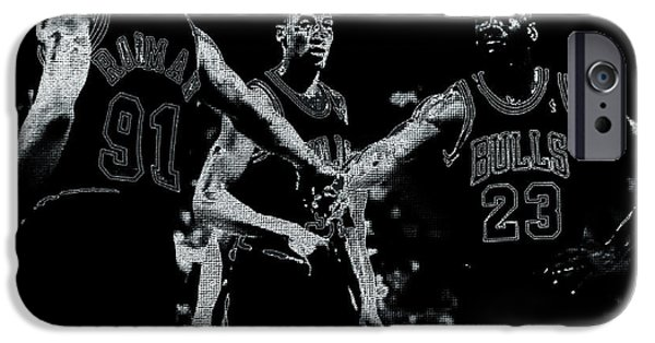 Patrick Ewing Paintings iPhone Cases - Raging Bulls iPhone Case by Brian Reaves