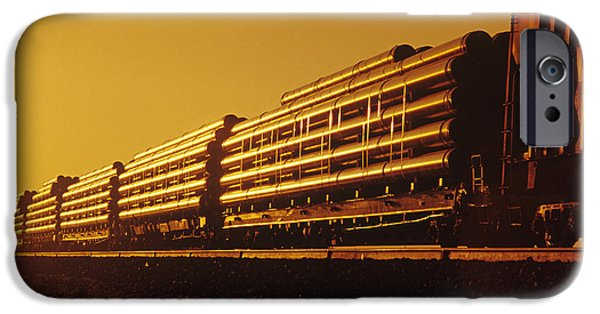 Colour Image iPhone Cases - Rail Car Train Carrying Steel Pipe iPhone Case by Dave Reede