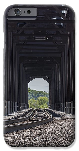 Prescott iPhone Cases - Railroad Lift Bridge 2 B iPhone Case by John Brueske