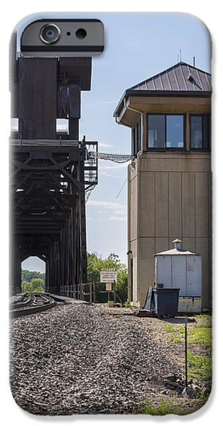 Prescott iPhone Cases - Railroad Lift Bridge2 A iPhone Case by John Brueske