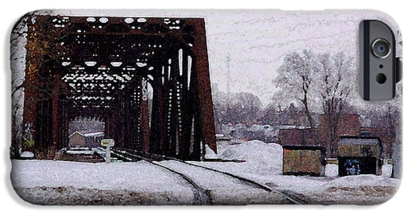 Stainless Steel iPhone Cases - Railroad Tressel On Front Street Crossing The Grand River iPhone Case by Rosemarie E Seppala