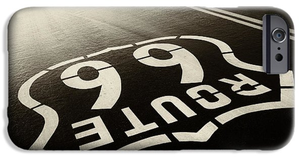 Asphalt iPhone Cases - Rain and Route 66 iPhone Case by Carter Jones