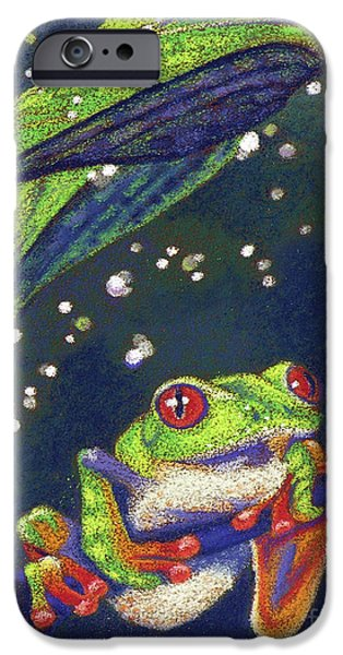 Raining Pastels iPhone Cases - Rain Drops - Tree Frog iPhone Case by Tracy L Teeter