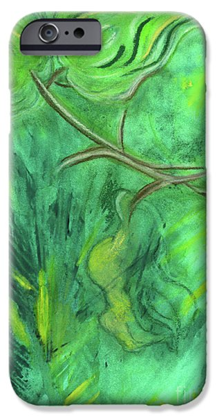 Raining Pastels iPhone Cases - Rain Forest Revisited iPhone Case by Mary Zimmerman