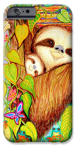 Rain Forest Survival Mother and Baby Three Toed Sloth iPhone Case by Nick Gustafson