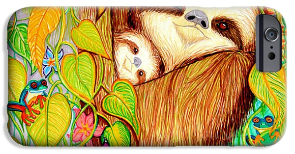 Sloth Drawings iPhone Cases - Rain Forest Survival Mother and Baby Three Toed Sloth iPhone Case by Nick Gustafson