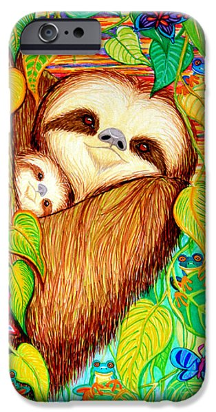 Rain Drawings iPhone Cases - Rain Forest Survival Mother and Baby Three Toed Sloth iPhone Case by Nick Gustafson