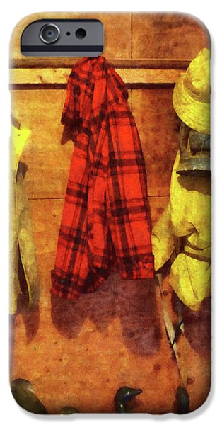 Rain Gear and Red Plaid Jacket iPhone Case by Susan Savad