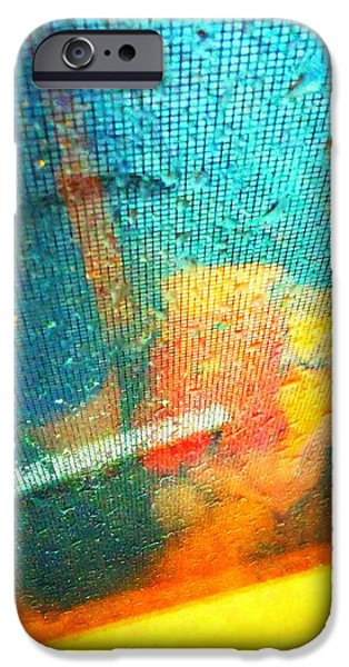 Raining iPhone Cases - Rain On My Window Abstract iPhone Case by Kathy Barney