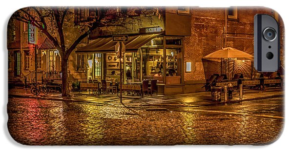 Raining iPhone Cases - Rain On The Cobblestones Of Greenwich Village iPhone Case by Chris Lord