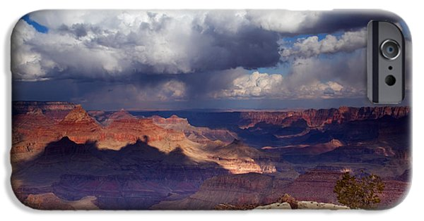 Grand Canyon Photographs iPhone Cases - Rain over the Grand Canyon iPhone Case by Mike  Dawson