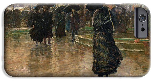 Reflection Paintings iPhone Cases - Rain Storm Union Square iPhone Case by Childe Hassam