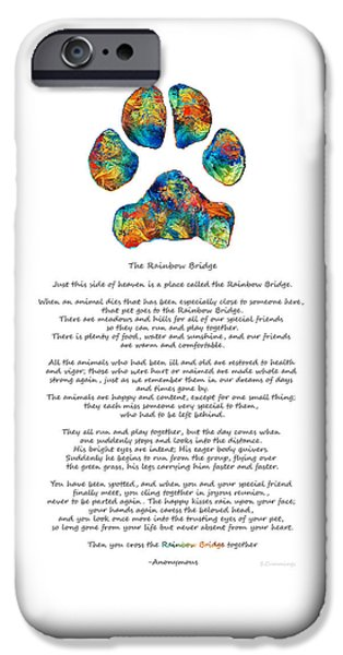 Love The Animal iPhone Cases - Rainbow Bridge Poem With Colorful Paw Print by Sharon Cummings iPhone Case by Sharon Cummings