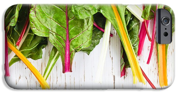 Swiss Chard iPhone Cases - Rainbow chard iPhone Case by Tom Gowanlock