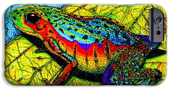 Pen And Ink iPhone Cases - Rainbow Frog iPhone Case by Nick Gustafson