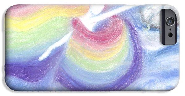 Abstract Digital Pastels iPhone Cases - Rainbow Goddess iPhone Case by Cassandra Geernaert