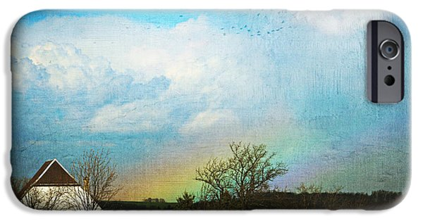 Field. Cloud Mixed Media iPhone Cases - Rainbow landscape iPhone Case by Heike Hultsch