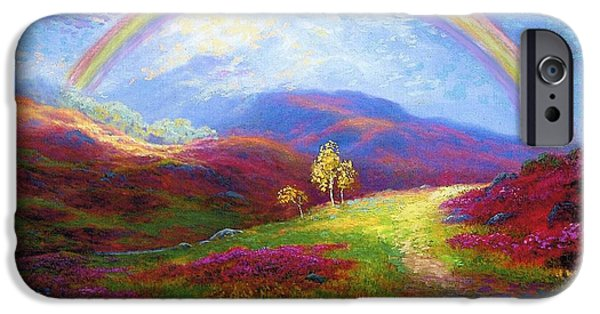 Lilac iPhone Cases - Rainbow Meadows iPhone Case by Jane Small