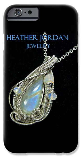 Jordan Jewelry iPhone Cases - Rainbow Moonstone and Sterling Silver Wire-Wrapped Pendant with Ethiopian Welo Opals MNSTPSS7 iPhone Case by Heather Jordan