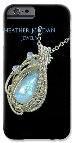 Jordan Jewelry iPhone Cases - Rainbow Moonstone and Sterling Silver Wire-Wrapped Pendant with Ethiopian Welo Opals MNSTPSS8 iPhone Case by Heather Jordan