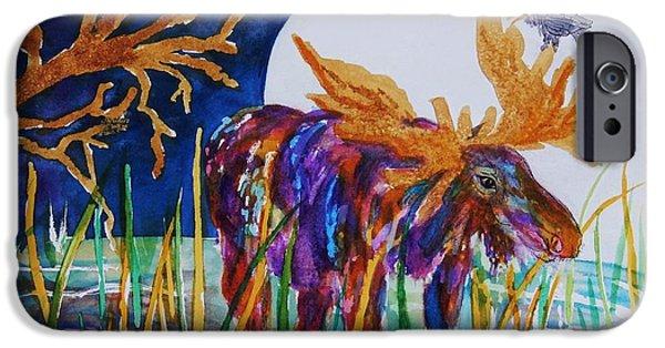 Creative Blackbird iPhone Cases - Rainbow Moose Night Grazing iPhone Case by Ellen Levinson