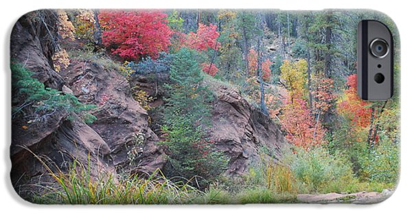 Oak Creek Canyon iPhone Cases - Rainbow of the Season with River iPhone Case by Heather Kirk