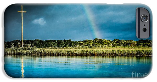 Nombre iPhone Cases - Rainbow over Nombre de Dios iPhone Case by Jim DeLillo