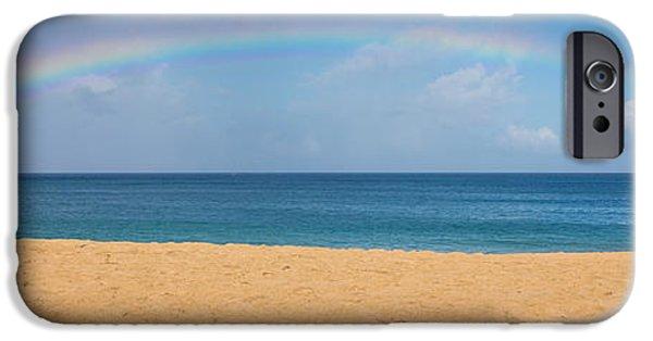 Freedom iPhone Cases - Rainbow Over The Pacific Panorama - Waimea Beach Oahu Hawaii iPhone Case by Brian Harig
