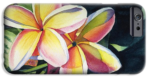Flower Paintings iPhone Cases - Rainbow Plumeria iPhone Case by Marionette Taboniar