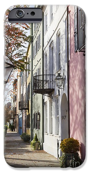 Historic Home iPhone Cases - Rainbow Row Charleston SC 3 iPhone Case by Dustin K Ryan