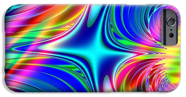 Abstract Digital iPhone Cases - Rainbow Splash Fractal Abstract iPhone Case by Rose Santuci-Sofranko