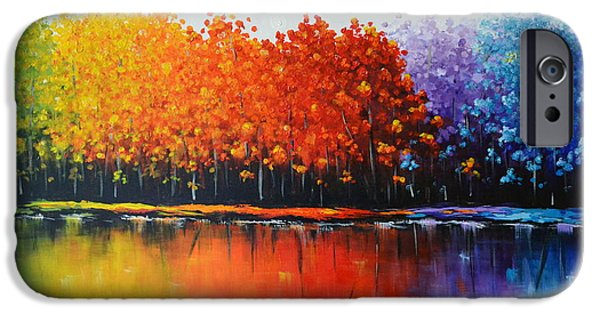 Fall Sculptures iPhone Cases - Rainbow trees  iPhone Case by Zarema Mamedova