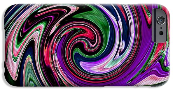 Abstract Digital Pastels iPhone Cases - Rainbowiana Catus 1 no. 1 V b iPhone Case by Gert J Rheeders