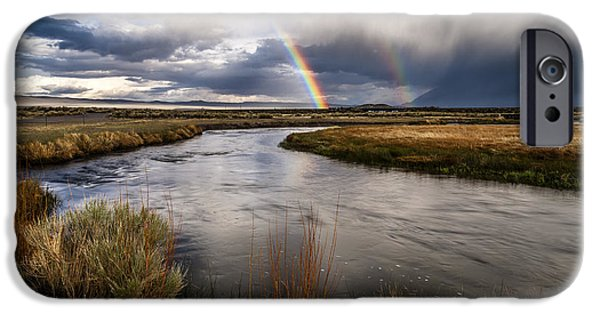 California Photographs iPhone Cases - Rainbows at the Upper Owens iPhone Case by Cat Connor