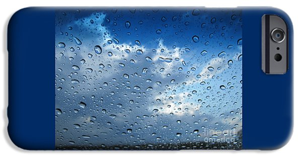 Rainy Day iPhone Cases - Raindrops in Blue iPhone Case by Ann Horn