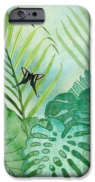 Philodendron iPhone Cases - Rainforest Tropical - Philodendron Elephant Ear and Palm Leaves w Botanical Butterfly iPhone Case by Audrey Jeanne Roberts
