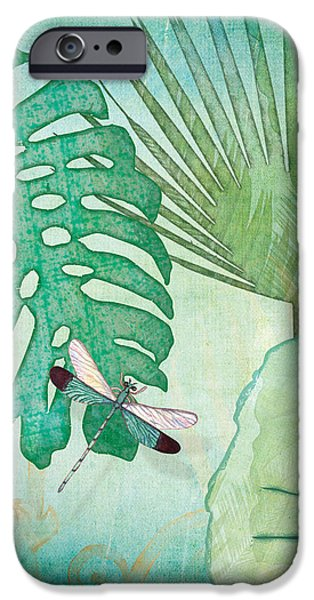 Philodendron iPhone Cases - Rainforest Tropical - Philodendron Elephant Ear and Palm Leaves w Botanical Dragonfly 2 iPhone Case by Audrey Jeanne Roberts