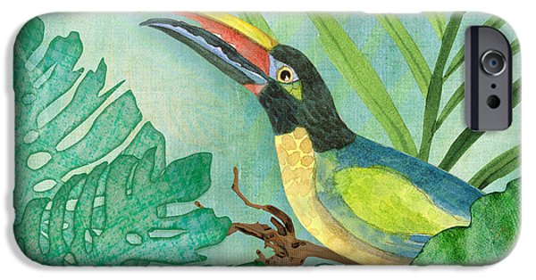Philodendron iPhone Cases - Rainforest Tropical - Jungle Toucan w Philodendron Elephant Ear and Palm Leaves 2 iPhone Case by Audrey Jeanne Roberts