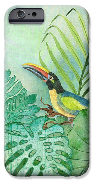 Philodendron iPhone Cases - Rainforest Tropical - Tropical Toucan w Philodendron Elephant Ear and Palm Leaves iPhone Case by Audrey Jeanne Roberts