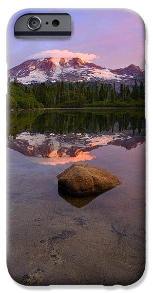 Mt Rainier iPhone Cases - Rainier Dawn Breaking iPhone Case by Mike  Dawson